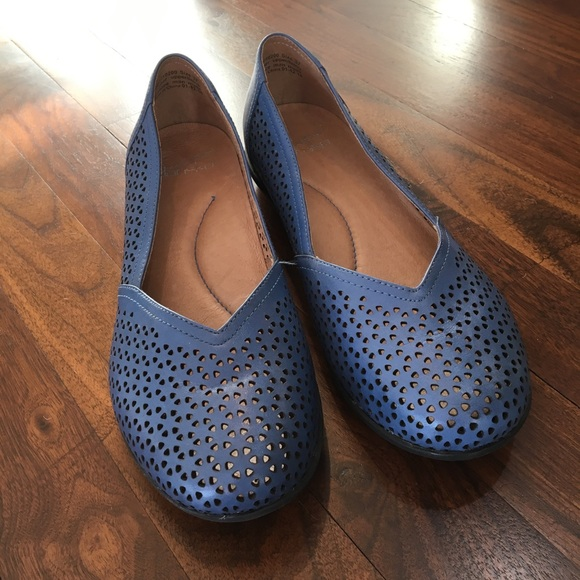 DANSKO NEELY Cut Out Perforated Flats Blue Leather Size 37